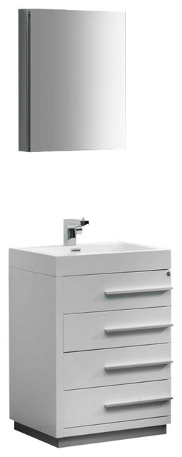 """Livello 24"""" White Vanity, Medicine Cabinet - Modern - Bathroom Vanities And Sink Consoles - by ..."""