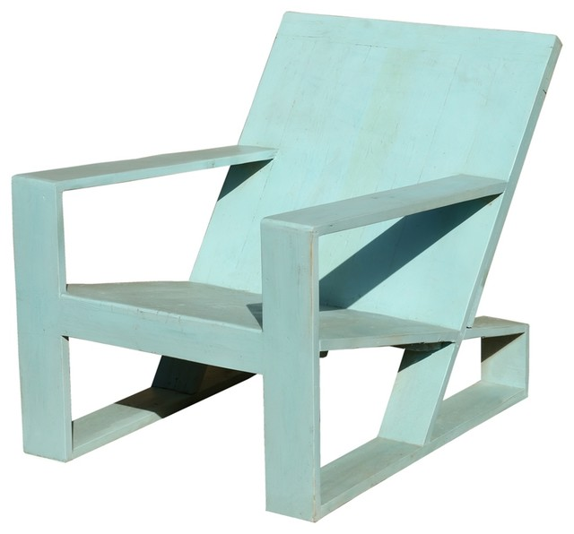 Sky Blue Hand Crafted Beach Style Lounge Chair.