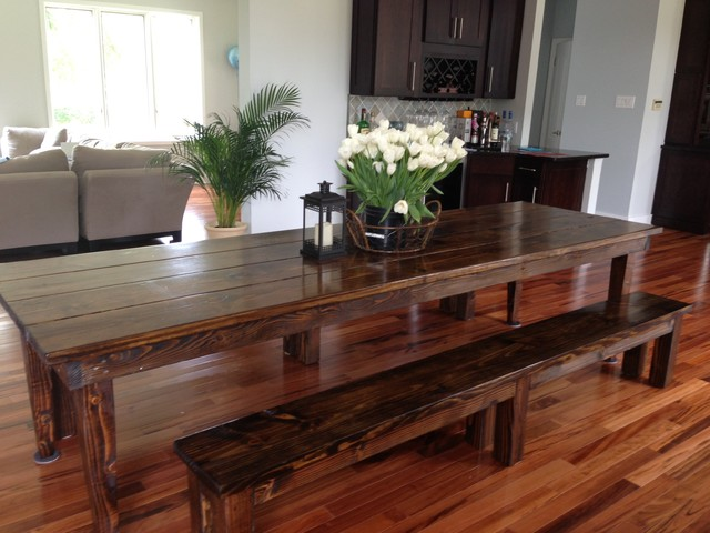JamesJames Farmhouse Table In Dark Walnut With Tapered Legs - Dark wood farm table