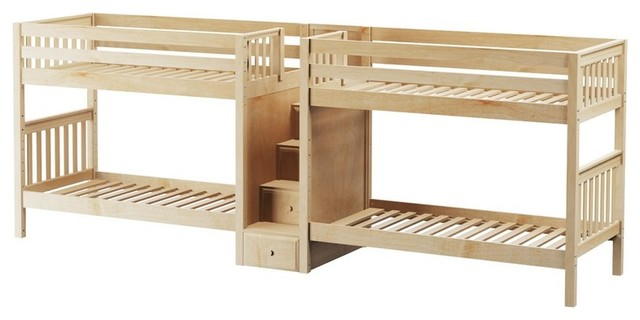 Contemporary Bunk Beds melrose sleeps 4 stairway bunk bed - contemporary - bunk beds -