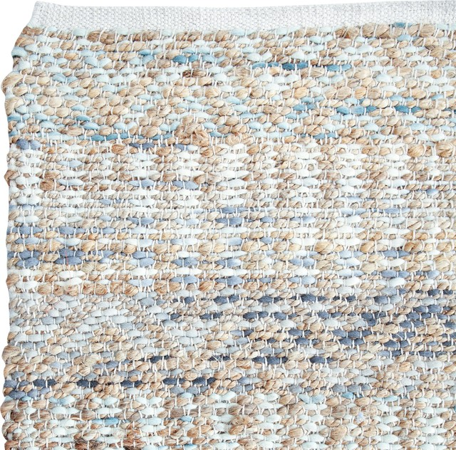 Davis Blue And Natural Jute Rug, 5&x27;x8&x27;.