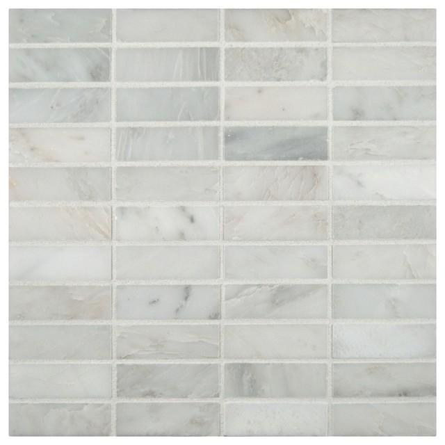 Sample Carrara White Marble Mint Glass Random Linear: Arabescato Carrara 1x3 Honed Marble