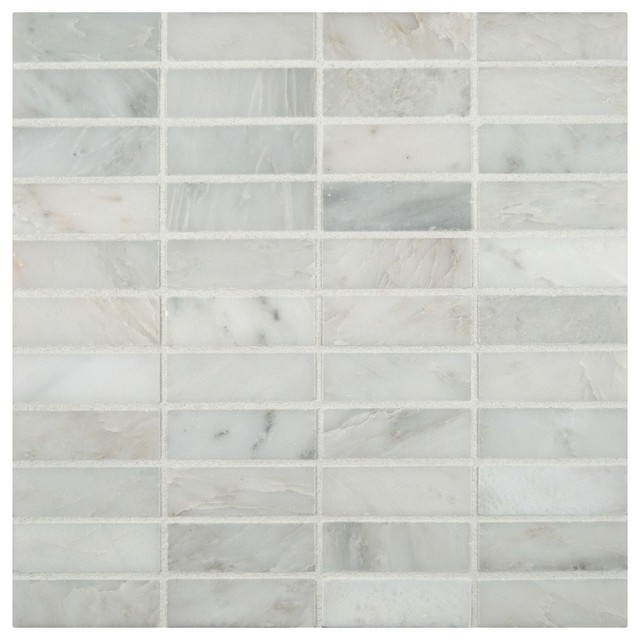 Arabeo Carrara 1x3 Honed Marble Mosaic In 12 X Sheet Full