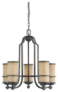 Sea Gull Lighting 31521 Wrought Iron Five Light Chandelier From The Roslyn Co