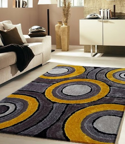 Modern Living Shag Area Rug Style 110 Gray Yellow Hand-Tufted Weave Rug, 5'x7'