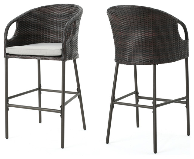 Dunlevy Outdoor Wicker Barstools With Water Resistant Cushions Set Of 2