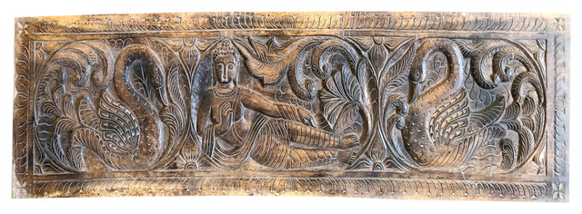 Consigned Carved Wooden Buddha Wall Panel Yoga Studios Wall Art Home Decor