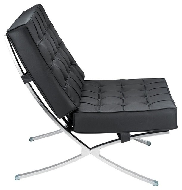 Barcelona Style Chair, Black Leather rocking-chairs