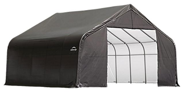 Shelter Logic Outdoor Sheltercoat Garage 28&x27;x28&x27;x16&x27;, Peak Standard, Gray.