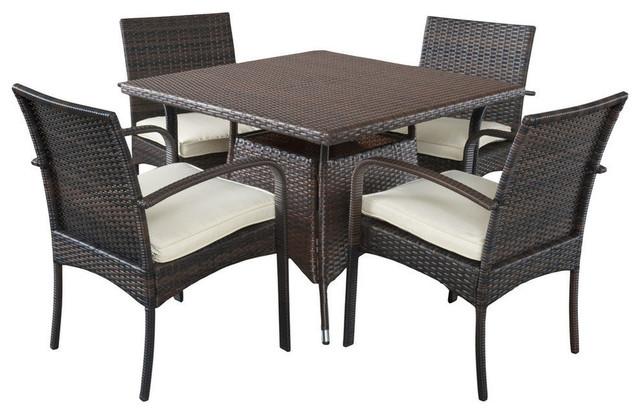 GDF Studio 5-Piece Carmela Outdoor Multibrown PE Wicker Square Dining Set