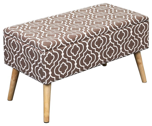 best service 9823e e9e56 Mid Century Modern Entryway Ottoman, Upholstered Seats, Moroccan Brown