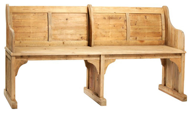 consigned vintage chapel bench - mediterranean - accent and storage benches