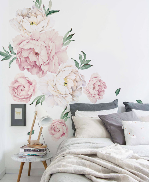 Peony Flowers Wall Sticker, Vintage Pink Contemporary Wall Decals Part 11