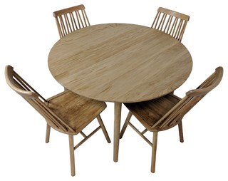Scandinavian Zig Zig Dining Set With 4 Chairs And Dining Table, Oiled Oak