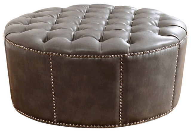 Abbyson Living Naples Nailhead Leather Round Ottoman in Gray  transitional-footstools-and-ottomans - Abbyson Living Naples Nailhead Leather Round Ottoman In Gray