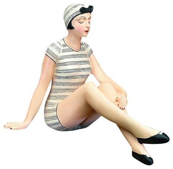 Polka Dot Bathing Beauty Sitting Figurine: Retro Bathing Beauty Figurine Statue, Swim Suit Woman