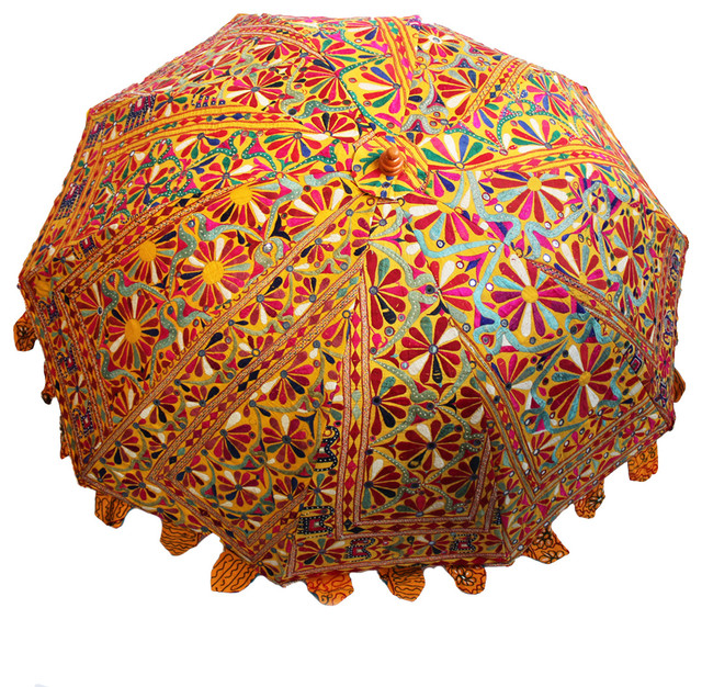 Consigned Vintage Embroidered Umbrella