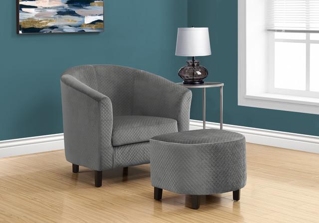 Remarkable 2 Piece Quilted Fabric Accent Chair And Ottoman Set Inzonedesignstudio Interior Chair Design Inzonedesignstudiocom