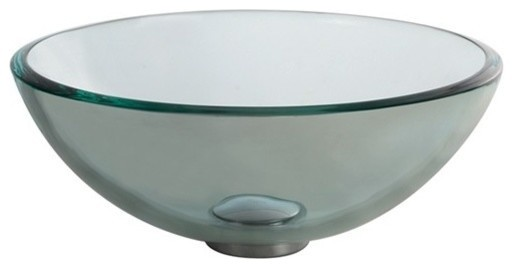 """Clear Glass Vessel Bathroom Sink With Pop-Up, Chrome, 14"""""""