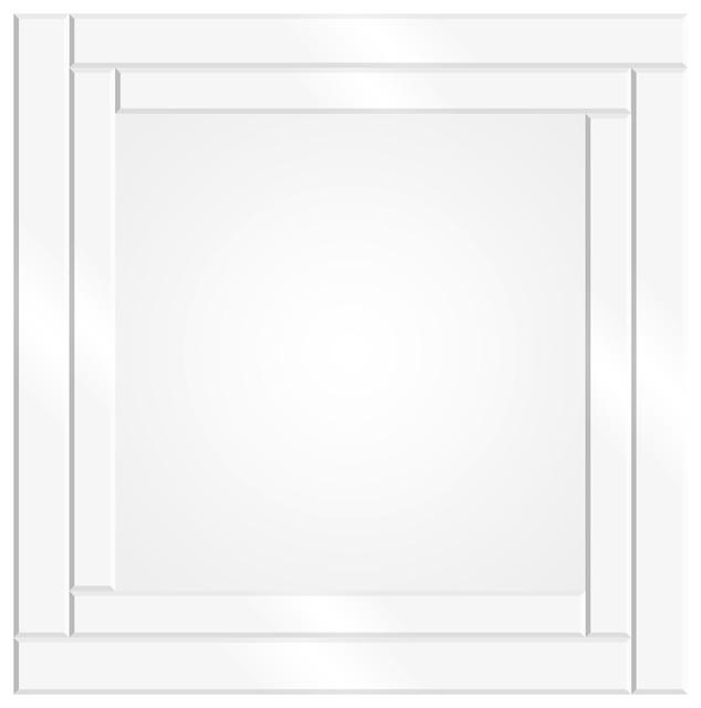 Etched Geometric Border Square Mirror, 24x24.