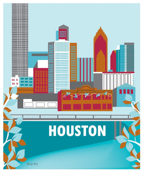 Loose petals houston texas vertical skyline print home for Modern home decor houston
