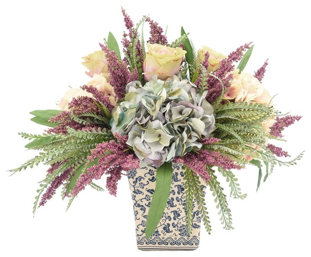 Hydrangea and Heather Square Vase - Transitional - Artificial Flower Arrangements - by Fratantoni Lifestyles  sc 1 st  Houzz & Hydrangea and Heather Square Vase - Transitional - Artificial ...
