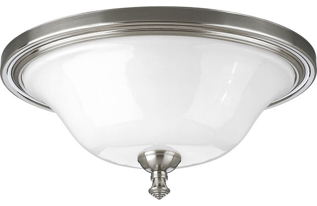 2-Light Close-To-Ceiling, Brushed Nickel.