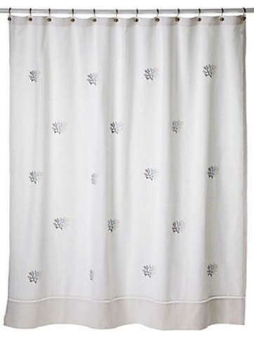 Shower Curtain, Coral, Duck Egg Blue
