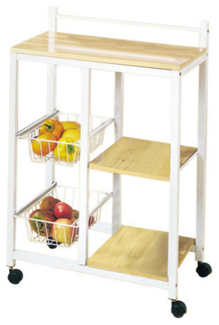 Acme Sitara Kitchen Cart, White And Natural.