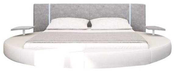 Modrest Rotondo Modern Eco-Leather Queen Bed With Led Lights.