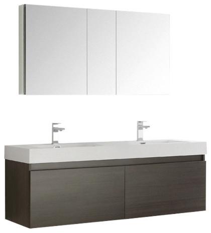 "Mezzo 60"" Gray Oak Wall Double Sink Bathroom Vanity Set, Bevera Chrome Faucet."