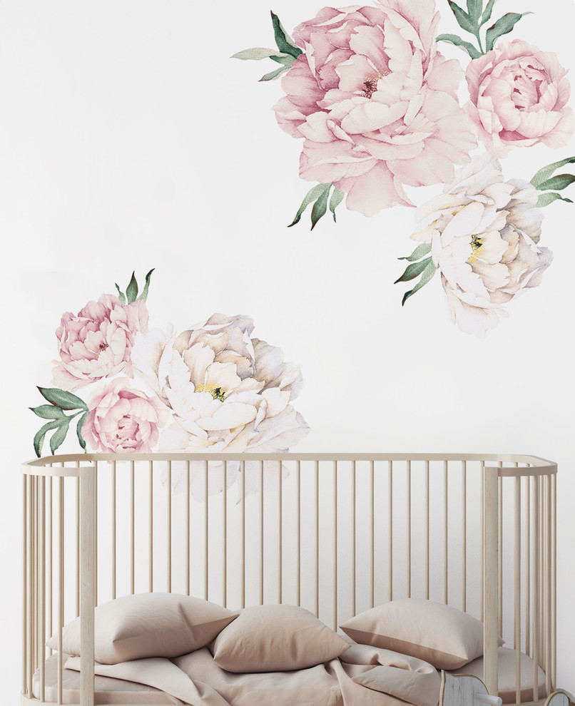 Simple Shapes Peony Flowers Wall Sticker For A Contemporary Look