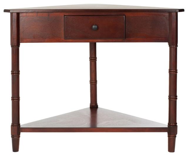 Safavieh Gomez Corner Table With Storage Drawer, Dark Cherry