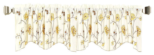 Spring Flower Embroidery Window Curtain Valance, Gold.