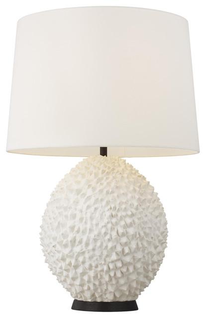 Anhdao 1-Light Table Lamp, Aged Iron/Matte White