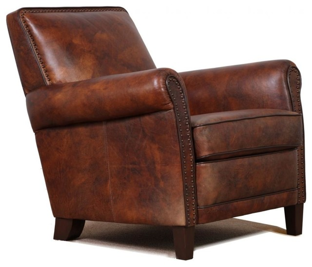 leather accent club chair - traditional - armchairs and accent