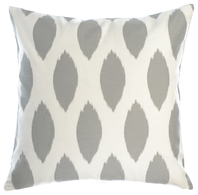 """Roundel Silver Pillow Cover 20""""x20"""", Cotton and Linen"""