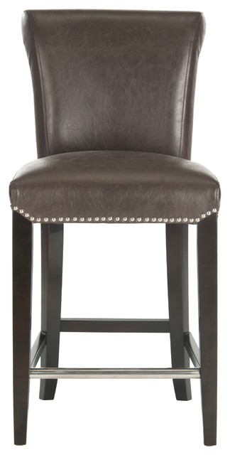 Safavieh Seth Counter Stool, Antique Brown/Espresso Leather/With Nail Head