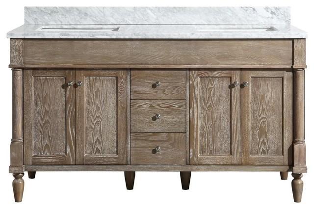 . Maddison Freestanding Oak Bathroom Vanity With Double Basin  60