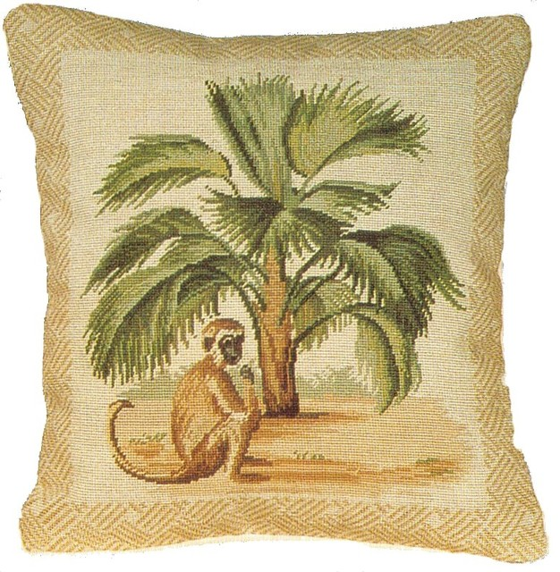 Traditional Decor Pillows : HKH International - Monkey With Tail Petit Point Pillow & Reviews Houzz