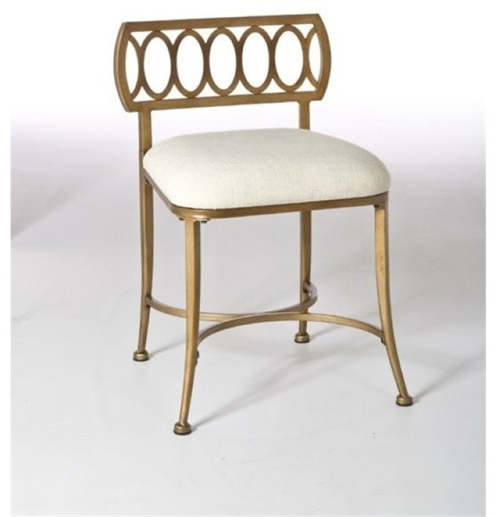 Bowery Hill Vanity Stool Gold Bronze Transitional Stools