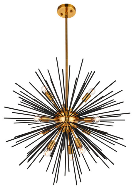 Daegan 10-Light Pendants, Light Antique Brass And Flat Black.