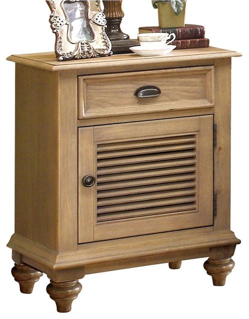 Riverside Furniture Coventry Shutter Door Nightstand In Driftwood