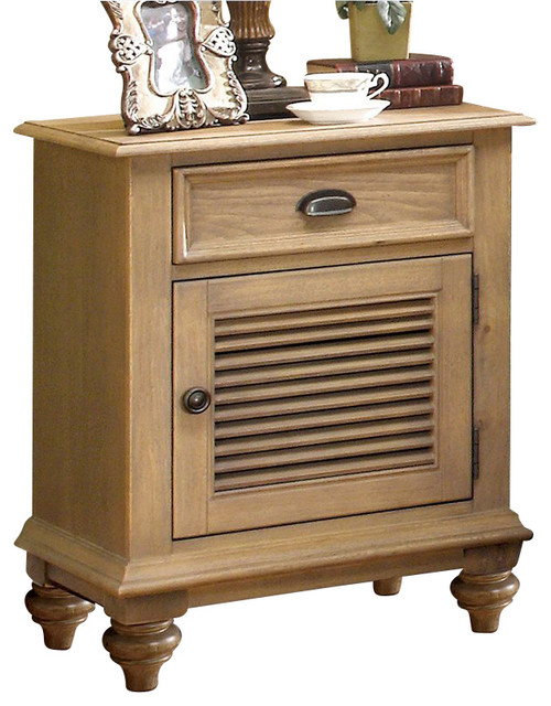 Riverside Furniture Coventry Shutter Door Nightstand In Driftwood  Nightstands And Bedside Tables