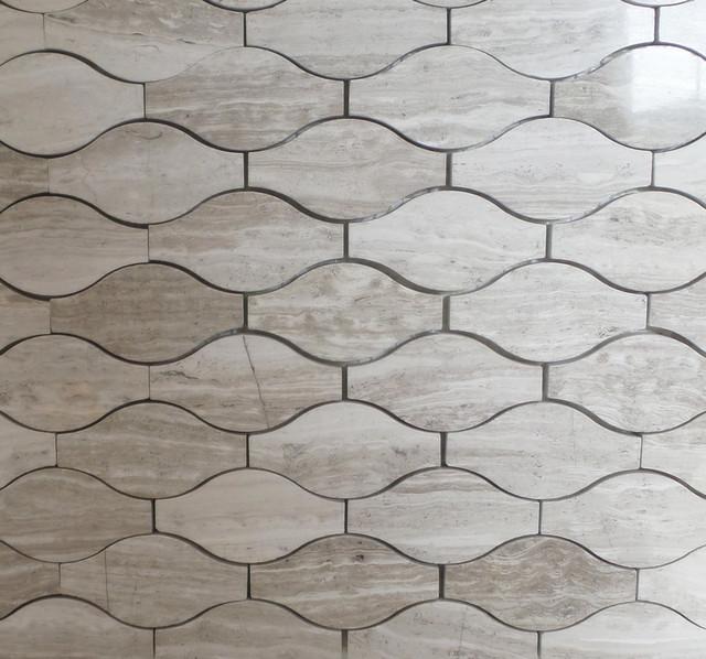 Wave Pattern Marble Mosaic Tiles 12 X12