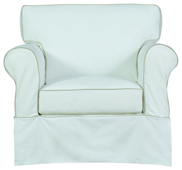 Lexi Slip Cover Chair in Bayou Off White With Contrasting Welt by Engender LLC