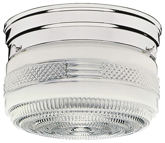 "2-Light 8"" Polished Chrome Drum Ceiling Light."