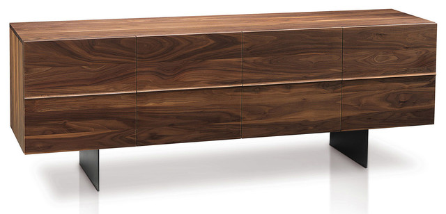 Horizon Sideboard 4-Door, Solid Walnut/anthracite Gray Legs.