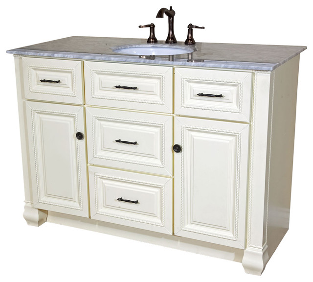 50 Inch Single Sink Vanity Heirloom White
