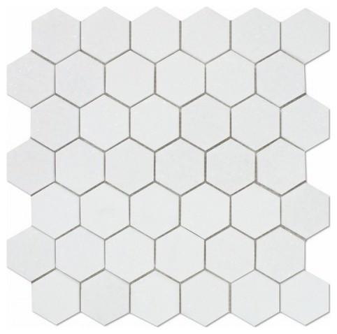 2 Thos White Marble Hexagon Tile Set Of 4 Contemporary